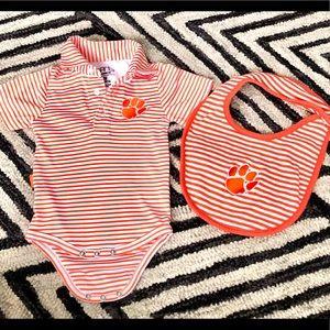 Clemson Tigers onesie and bib